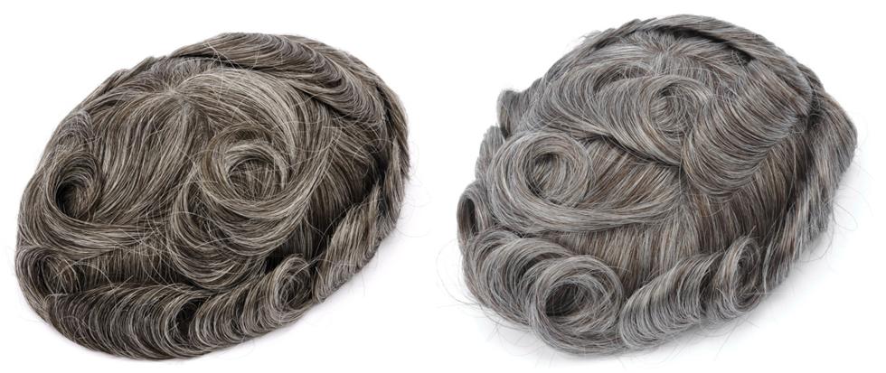 tupé de pelo gris