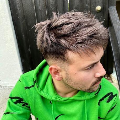 Reemplazo de cabello no quirúrgico para hombres Ares | Encaje francés con piel alrededor | Lo mejor para el uso diario