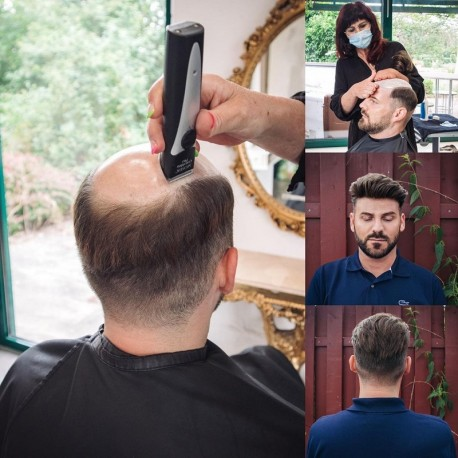 Unidad de reemplazo de cabello para hombres Coeus | Base de piel fina completa | Peinado de hombre para cabello ondulado