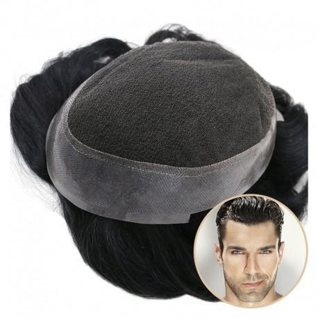 Media peluca para hombre Crius | Encaje francés en el centro con Polyskin alrededor | Debe tener para viajar