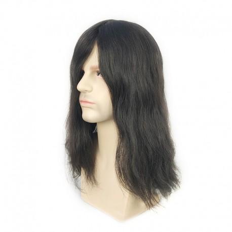 Tupé de pelo largo para hombre Noah de 14 '' en negro 1B | Estilo de corte de pelo largo para hombres