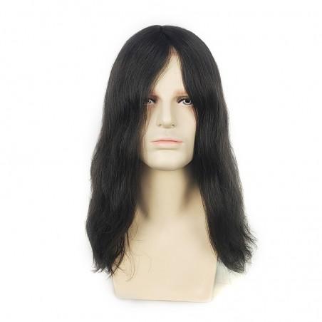 Noah 14'' Men's Long Hair Toupee in 1B Off Black   Men's Long Haircut Style