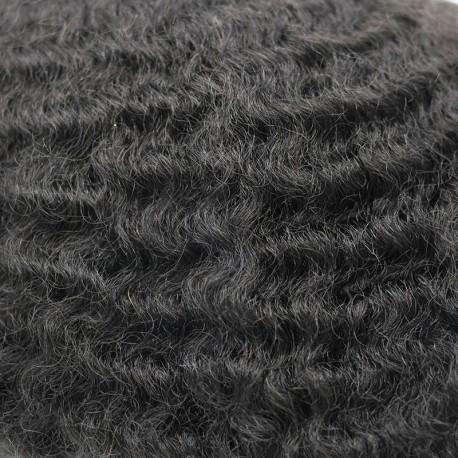 Toupee afroamericano Niles para hombres negros en rizo de tamaño de varilla de 8 mm | Cabello humano corto y rizado
