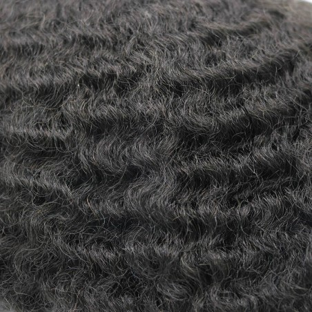 Niles African American Toupee for Black Men in 8mm Rod Size Curl | Short Curly Human Hair
