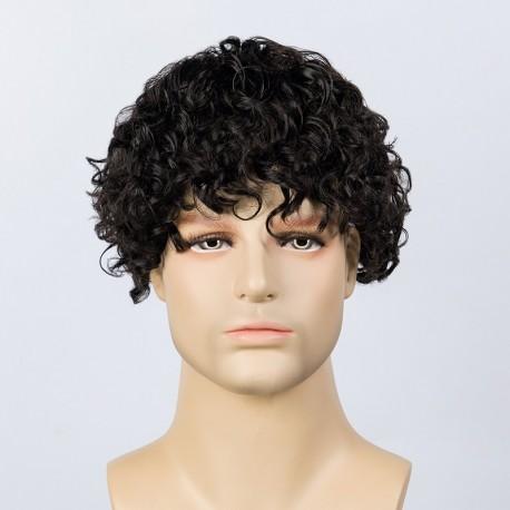 Adam Men Curly Hair Toupee 20mm Tamaño de varilla Curl   Aspecto de cabello de gama alta
