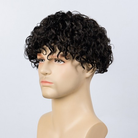 Adam Men Curly Hair Toupee 20mm Rod Size Curl | High End Hair Look
