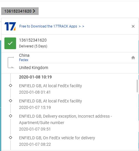 shipping status
